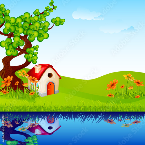 vector illustration of home under tree in nature landscape