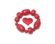 female red bracelet and red head on white background Valentine's