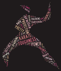 Karate pictogram with pink words on black background