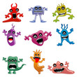 vector illustration of collection of cartoon alien and monster