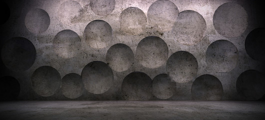 interior scene with concrete wall and sphere effect