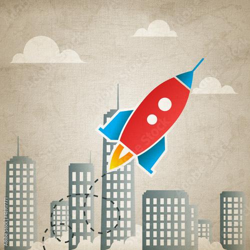 rocket 5 with landscape (canvas version)