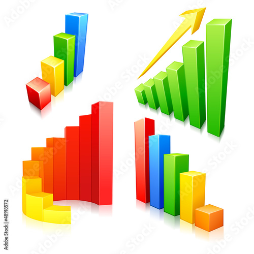 vector illustration of collection of colorful bar graph
