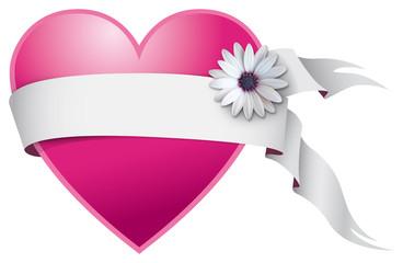 Cuore di San Valentino con nastro bianco e fiore