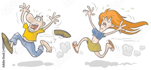 Running afraid man and woman.