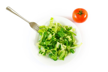 Mixed green salad on the plate and tomato