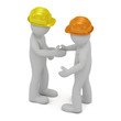 Two construction workers in hard hats shaking hands