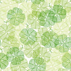 Seamless pattern with abstract clover leaves.