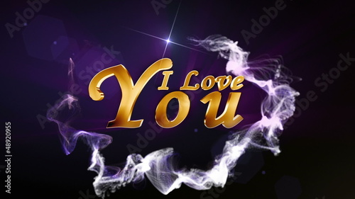 I Love You, Text in Particle Blue - HD1080