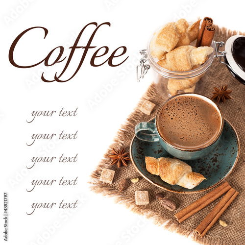 Coffee, spices and croissants