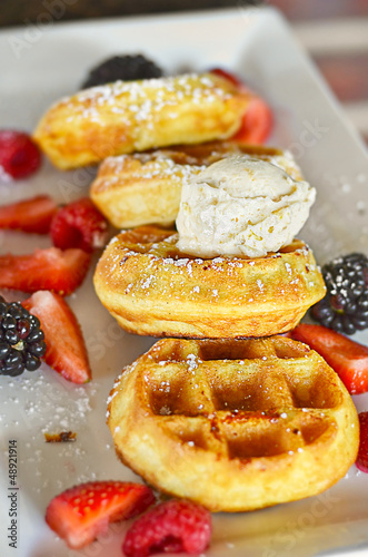 Belgium Waffles and fruit