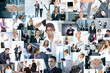 A large collage of business images with people in formal clothes