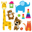set of vector animals toys