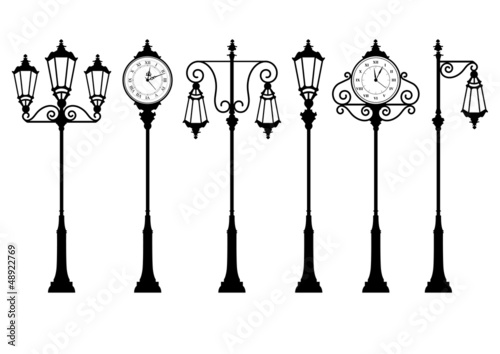 street lanterns and clock
