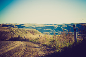 gravel road valley overlook - Drumheller Alberta - LOMO