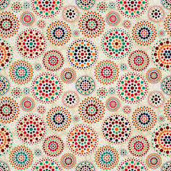 Seamless Beige Pattern with Colorful Elements