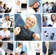 A collage of business images with young people working