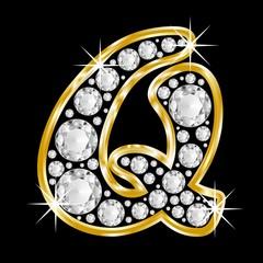 golden Q with diamonds