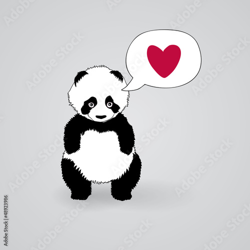 Shy Panda loves you / Romantic square card