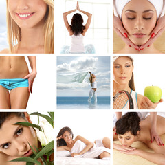 A collage of images with women on spa massage