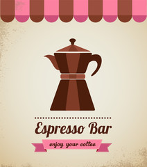 Espresso bar vinatge poster with makineta