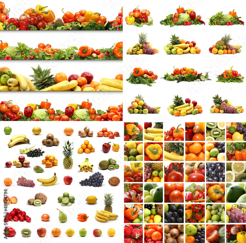 A collage of different fresh and tasty fruits and vegetables
