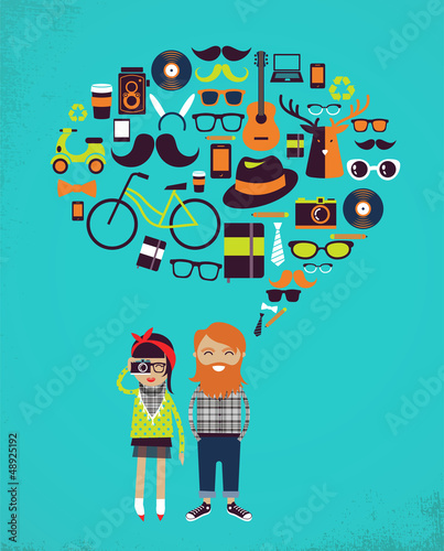 Hipster speech bubble with icons and stylish young couple
