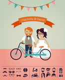 Hipster wedding - design your own invitation card