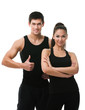 Two sportive people in black sports wear, isolated on white