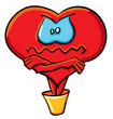 Cartoon angry heart in the bucket