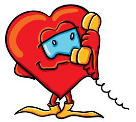 Cartoon  heart is calling