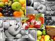 A collage of many fresh and tasty fruits and vegetables