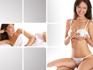 A collage of young women in lingerie driking coffee