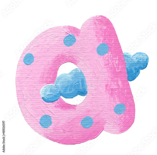 Pink letter a with cloud