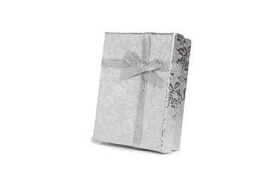little silver girfbox with bow isolated on white
