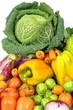 Verza con misto di vegetali e oartaggi