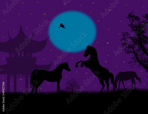 The pagoda and horses