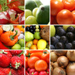 A collage of fresh fruits and vegetables