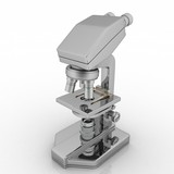 Professional laboratory optical microscope with stereo eyepiece poster