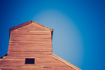 grain elevator sky at sunset - Drumheller Alberta - LOMO