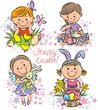 Illustration kids celebrate Easter