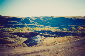 Badlands at sunset - Drumheller Alberta - LOMO