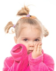 Little girl in dressing gown