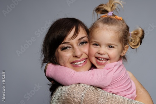 Happy mother and daughter portrait