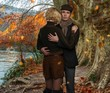 Elegant couple embracing near river in autumnal landscape