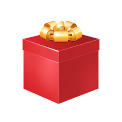 Red Square Gift Box With Golden Ribbon Bow