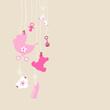 Card Hanging Baby Symbols Girl Beige