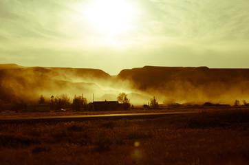 dirt road at sunset - Drumheller Alberta - LOMO