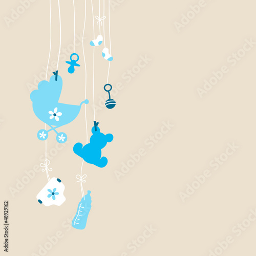 Card Hanging Baby Symbols Boy Beige - 48929162