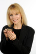 Business woman texting on cellular phone